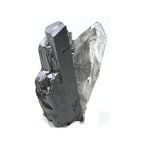 Ferberite Metallic Crystals with Quartz Natural Mineral Specimen, Tungsten Ore Geological Sample, Euhedral Crystals, Rock and Mineral Curio