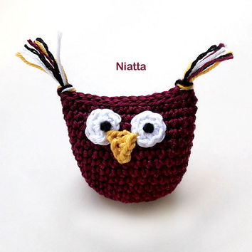 Owl Amigurumi Toy KeyRing KeyChain Phone Strap Kawaii Charm Miniature Crochet Home Decor Niatta