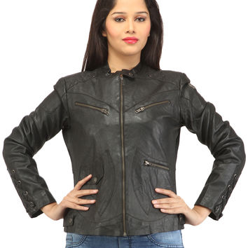 Women Leather Washed Rivet Jacket