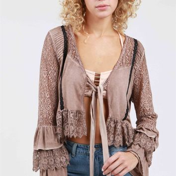 Cocoa tiered lace bell sleeve bolero top