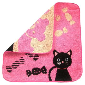 Black Kitty Cat and Teddy Bear Handkerchief Face Towel in Dark Pink | Japan