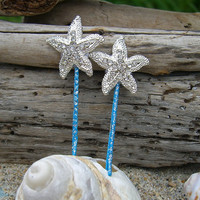 Silver Starfish Aqua Blue Sparkle Set of 2 Bobby Pins, Beach Weddings, Mermaid Hair, Mermaid Costume, Nautical Weddings, Hair Accessories