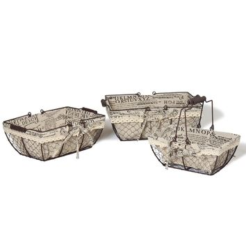 Set of 3 Chicken Wire Baskets With Newspaper Print Lining
