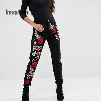 ONETOW Imvation Women Embroidered Jeans Flower High Waist Jeans Ladies Ankle Length Pencil Jeans High Quality Denim Pants Mom Jeans
