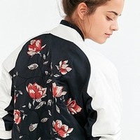 Silence + Noise Stays On Tour Navy Satin Bomber Jacket - Urban Outfitters