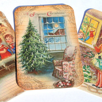 Christmas Window Tags - Set Of 6 - Christmas Tags - Vintage Look - Holiday Tags - Window Scenes -Thank Yous - Vintage Christmas - Xmas Tags