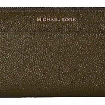 NWT Michael Kors Mercer Pocket Leather Zip Around Continental Wallet *OLIVE*