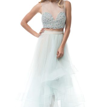 Sparkly two piece high low prom dress  BC-sr160703