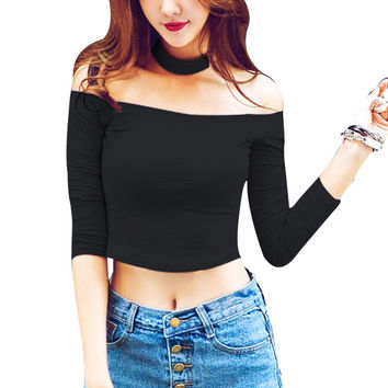 2016 Summer Women Tshirt Tops and Tees Black/White/Pink Sexy Crop Top Slash Neck Off Shoulder Shirt Halter Neck Poleras De Mujer