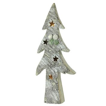 "30"" LED Lighted Battery Operated Rustic Glittered Christmas Tree Table Top Decoration"