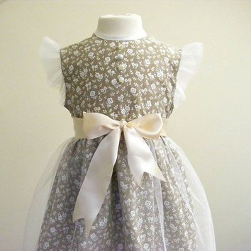 Cream Tulle Floral Party Dress Girls Dress Age 4 by makemeadress