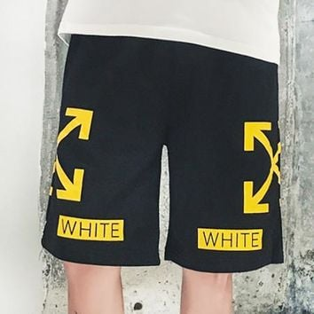 Off White New fashion letter cross arrow couple shorts Black