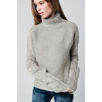 Turtleneck sweater with extra long sleeves and striped in cream and grey