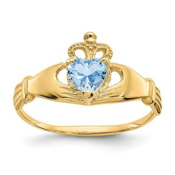 14K Yellow Gold CZ March Birthstone Claddagh Heart Ring