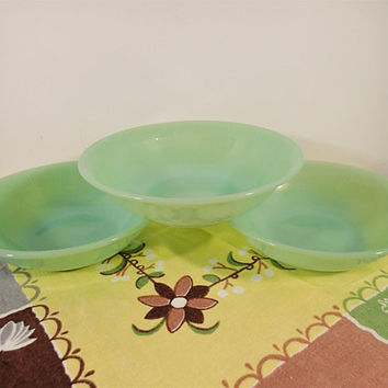 "Fire King Jadeite Ray Rim Cereal bowls, set of 3 Vintage Jane Ray Jadeite 6"" bowls Vintage 6"" bowls 1950's"