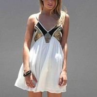 White Sleeveless Mini Dress with Sequin Bust Detail