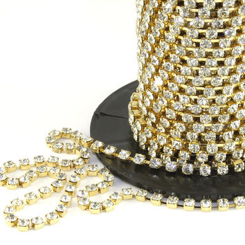 Cystal/Gold Rhinestone/Diamante/Crystal Trim - 1Metre - Many sizes (3mm/4mm/5mm) - Accessories, Cake Design, Bouquets, Jewellery, Costume!