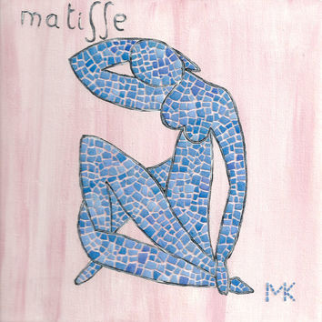 Home Decor Collage Painting Mosaic Contemporary Art Famous Matisse Blue Nude Home Office Decor Wall Art Hanging Egg Shell Mini Gift Ideas