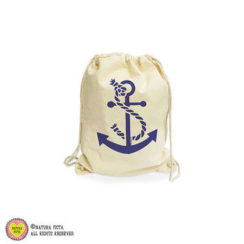 Anchor beach organic gymsack-anchor bag-beach gym sack-wedding favors bags-anchor gymsack-drawstring backpack-gym sack-NATURA PICTA NGS005
