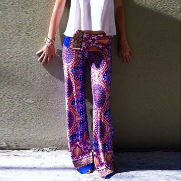Purple Circle Geo Patterned Palazzo Pants