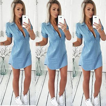 Fashion Women Ladies Clothing Tops Casual T-Shirts Blue Jean Deep V Neck Denim Short Sleeve Shirts Tops Women Clothes 6-14