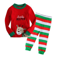 Winter 2pc Christmas Kid Baby Girl Boy Home Sleepwear Outfit Nightwear Pajamas Set