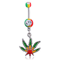 Sexy Rhinestone Ball Green Leaf Medical Stainless Steel Piercing Belly Button Rings Body Piercing Navel Jewelry.