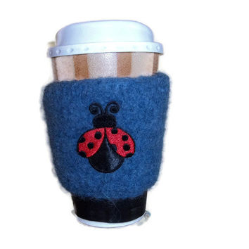 Coffee Cozy Knit Blue Ladybug