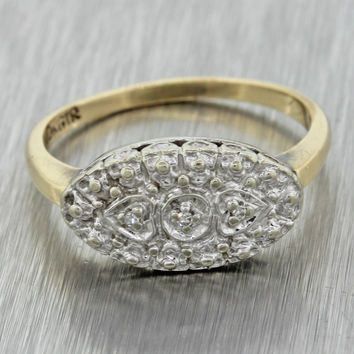 1930s Antique Art Deco Estate 10k Solid Yellow White Gold .03ct Diamond Ring