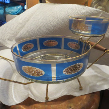 Vintage   blue w gold sunflowers Glass Chip and Dip Set , 4 Pieces
