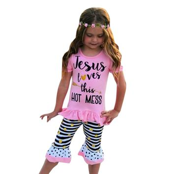 Girl's 2 Pc Jesus Loves this Hot Mess Outfit Includes Short Sleeve Top and Pants, Sizes 2T - 6