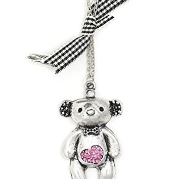 Teddy Bear Necklace Silver Tone Pink Crystal Heart Pendant NR67 Fashion Jewelry