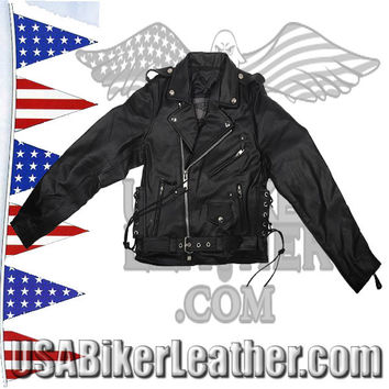 Teens Leather Motorcycle Biker Jacket with Side Laces / SKU USA-KD344-TEEN-DL