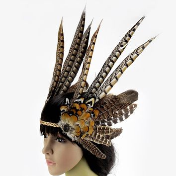 Halloween Carnival Party Feather Headband Indian Style Headwear Cosplay Indian Chief Props Feathered Headdress
