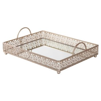 Large Rectangular Metal Mirror-Top Serving Tray (Champagne)