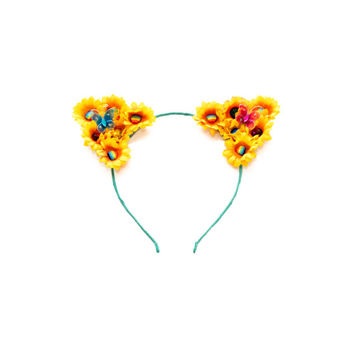 Sunflower Rainbow Cat Ear Headband, Floral Cat Ears, Kitty Ears Headband, Pride Headband, Rave Wear, Coachella, Electric Daisy Carnival
