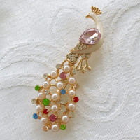 Vintage Peacock Brooch, Pearl Rhinestone, Peacock Pin, Bird Jewelry
