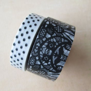 Washi Tape - Double Roll - White with Black Polka Dots and Black Faux Lace