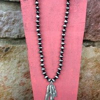 Triple Silver Feather Necklace - NEK549BK