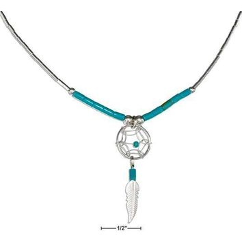 """Sterling Silver Necklaces: 20"""" Dreamcatcher Necklace With Feather And Turquoise Heishi"""