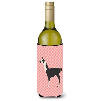 Llama Q' Ara Pink Check Wine Bottle Beverge Insulator Hugger BB7918LITERK