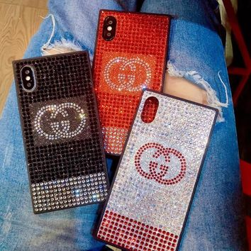 GUCCI New Fashion Swarovski Water Drill Mobile Phone Case iphone 6 6plus iphone 7 7plus iphone 8 8plus iphone X Luxury Case Glitter Protective Diamond Case I12481-1