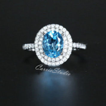 8mm Cusion Natural Blue Topaz Ring Topaz Engagement Ring Wedding Ring Sterling Silver Ring Anniversary Ring Promise Ring