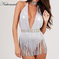 NATTEMAID Summer Sexy Women Bodysuit Halter Backless Sequined Hollow Out tassel Rompers Bodysuits Jumpsuit night Club Playsuit