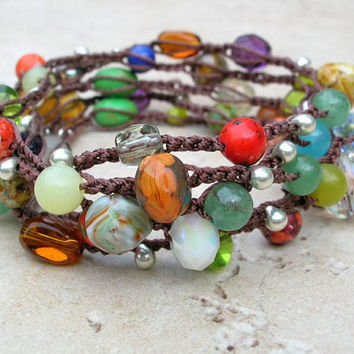 Gypsy Boho crochet wrap bracelet, Bohemian crochet jewelry, Tribal crochet necklace, colorful earthy, czech glass, gemstones