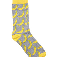 Banana Crew Socks Grey/Yellow One
