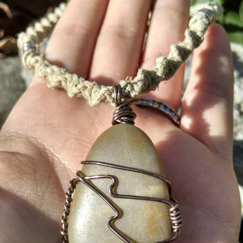 Wire Wrapped Polished Rock Pendant Hemp Necklace