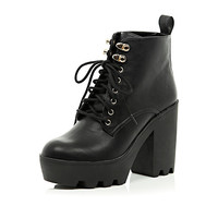 River Island Womens Black lace up cleated sole boots
