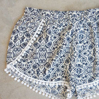 Seaside Shorts in Navy Pom Pom [7302] - $21.60 : Feminine, Bohemian, & Vintage Inspired Clothing at Affordable Prices, deloom