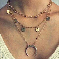 Double Horn Necklace Crescent Moon Charm Pendant Multi Layer Gold Chain Jewelry